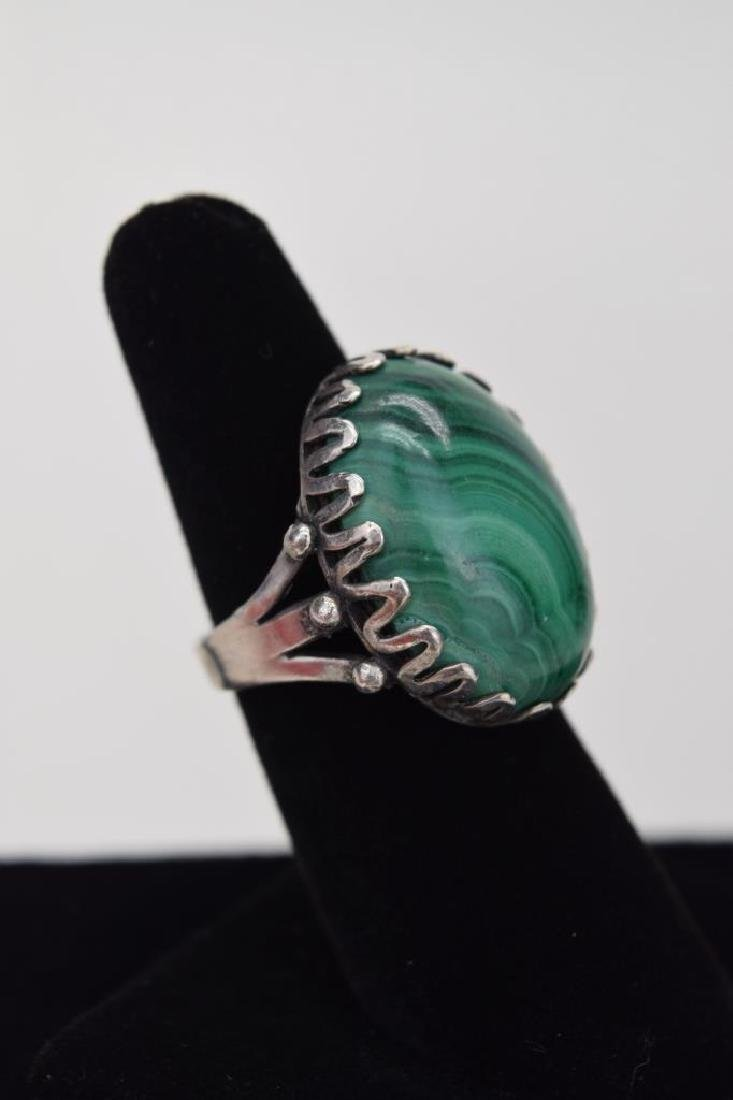 TAXCO MEXICO STERLING SILVER MALACHITE EARRINGS - 7