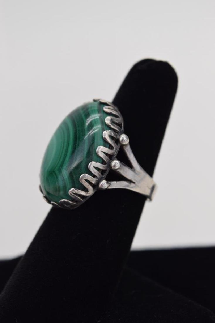 TAXCO MEXICO STERLING SILVER MALACHITE EARRINGS - 8