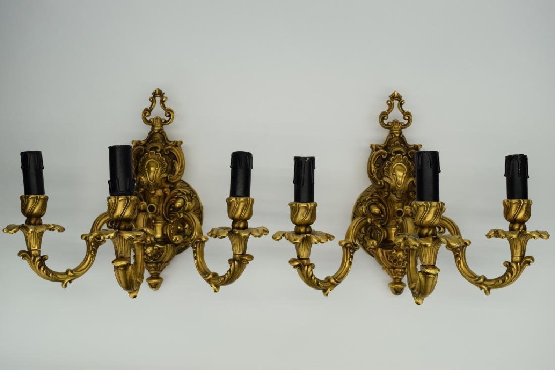 PAIR GILT BRONZE FBAI ITALIAN WALL LAMP SCONCES