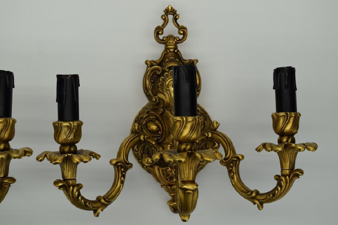 PAIR GILT BRONZE FBAI ITALIAN WALL LAMP SCONCES - 3