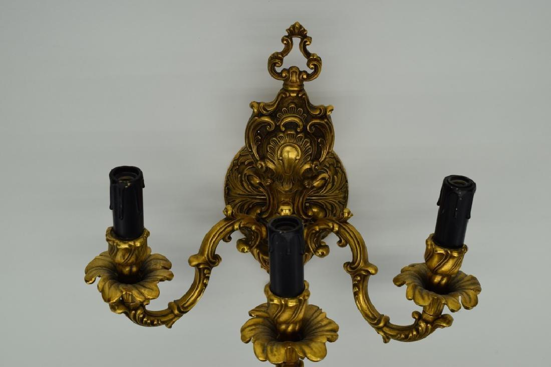 PAIR GILT BRONZE FBAI ITALIAN WALL LAMP SCONCES - 5