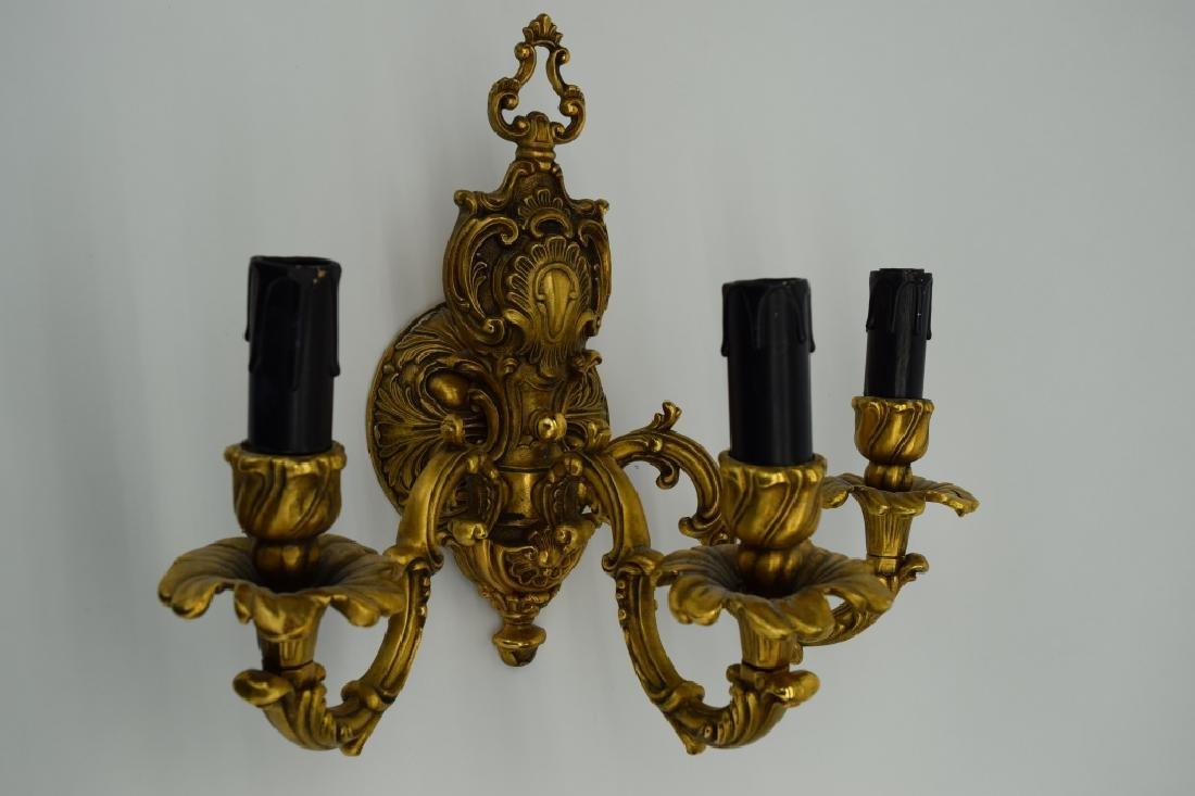 PAIR GILT BRONZE FBAI ITALIAN WALL LAMP SCONCES - 7
