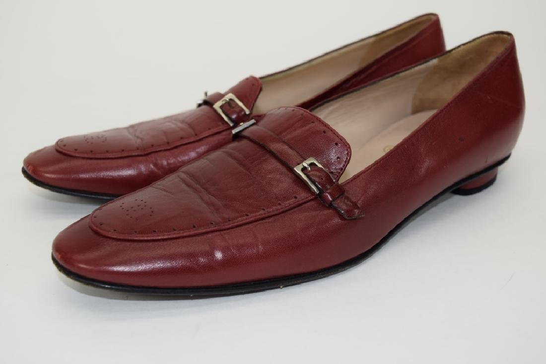 PAIR CHANEL RED LEATHER SHOES 37-1/2 - 2