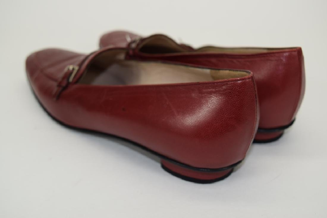 PAIR CHANEL RED LEATHER SHOES 37-1/2 - 3
