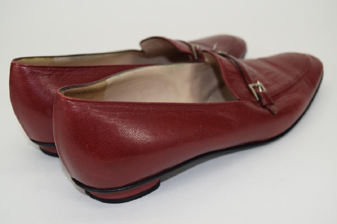 PAIR CHANEL RED LEATHER SHOES 37-1/2 - 4