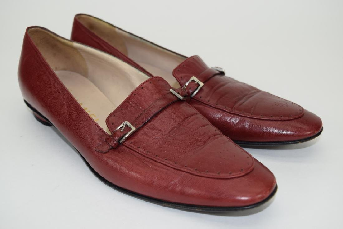 PAIR CHANEL RED LEATHER SHOES 37-1/2 - 5