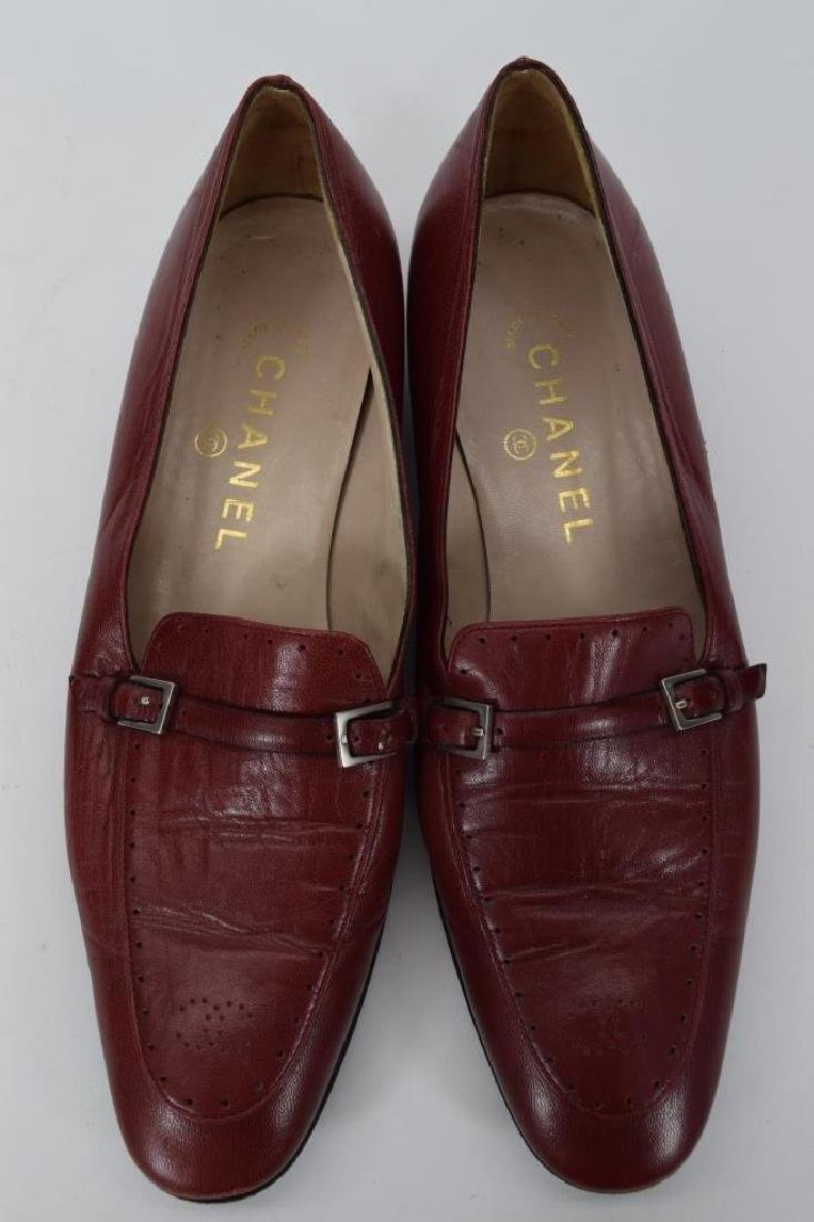 PAIR CHANEL RED LEATHER SHOES 37-1/2 - 7