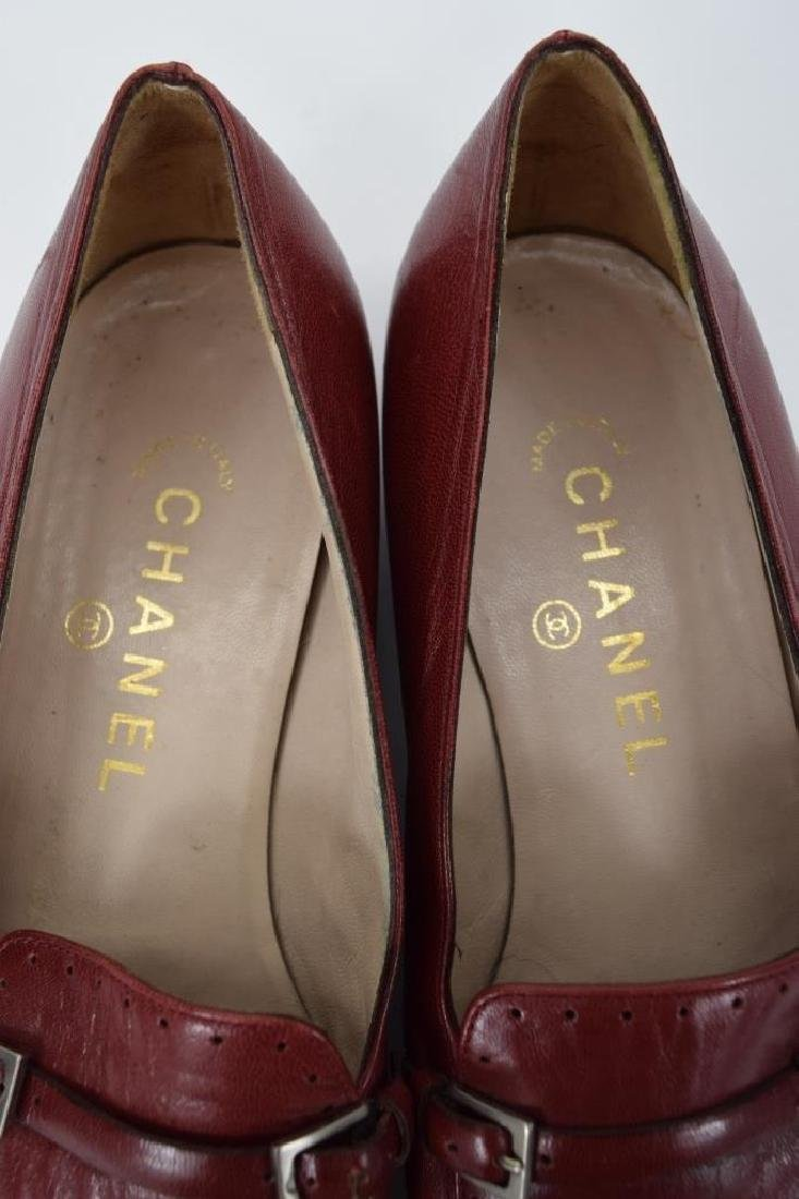 PAIR CHANEL RED LEATHER SHOES 37-1/2 - 8