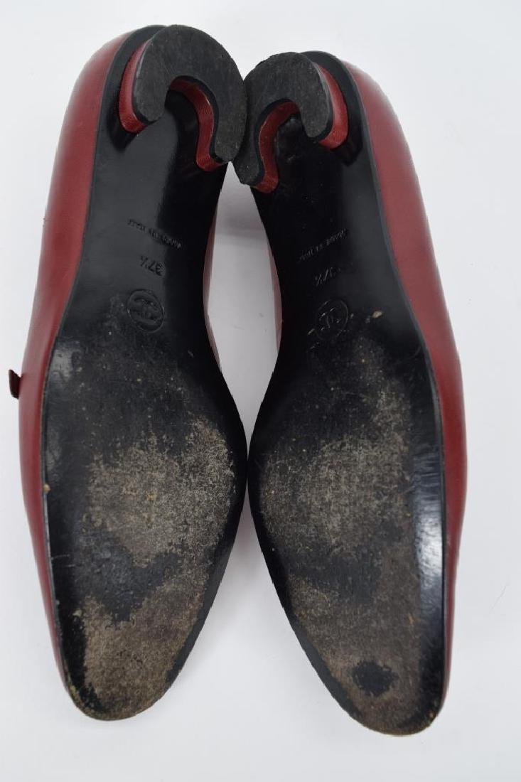 PAIR CHANEL RED LEATHER SHOES 37-1/2 - 9