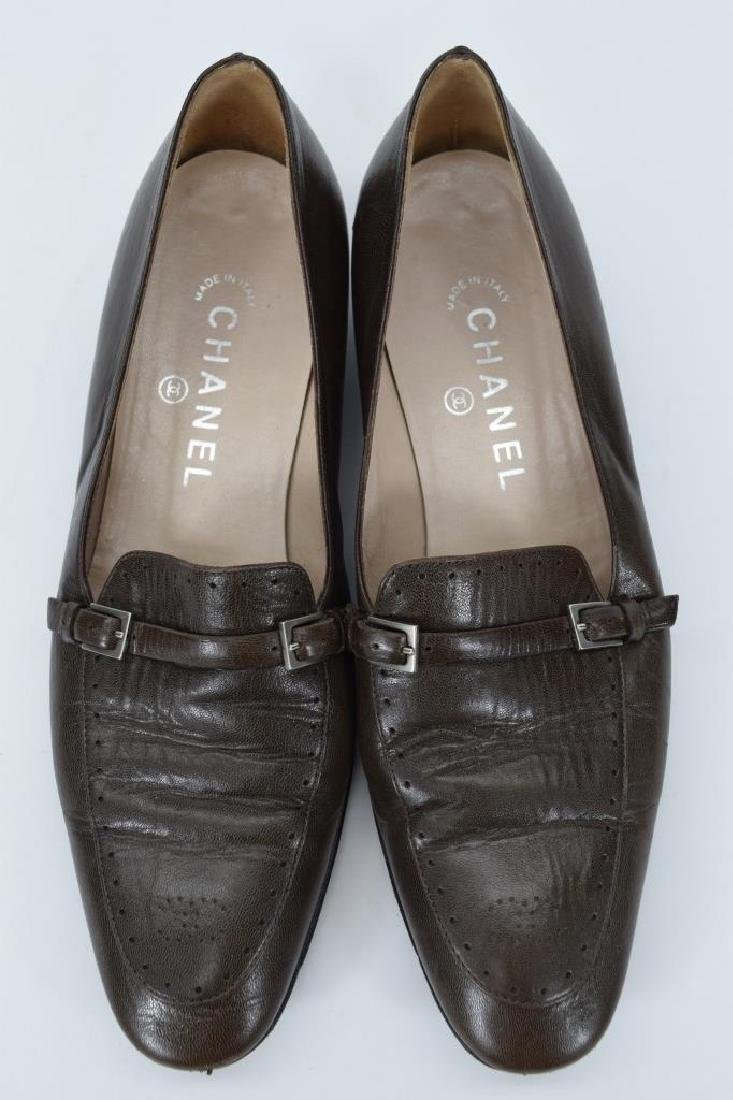 PAIR CHANEL BROWN LEATHER SHOES 38 - 7