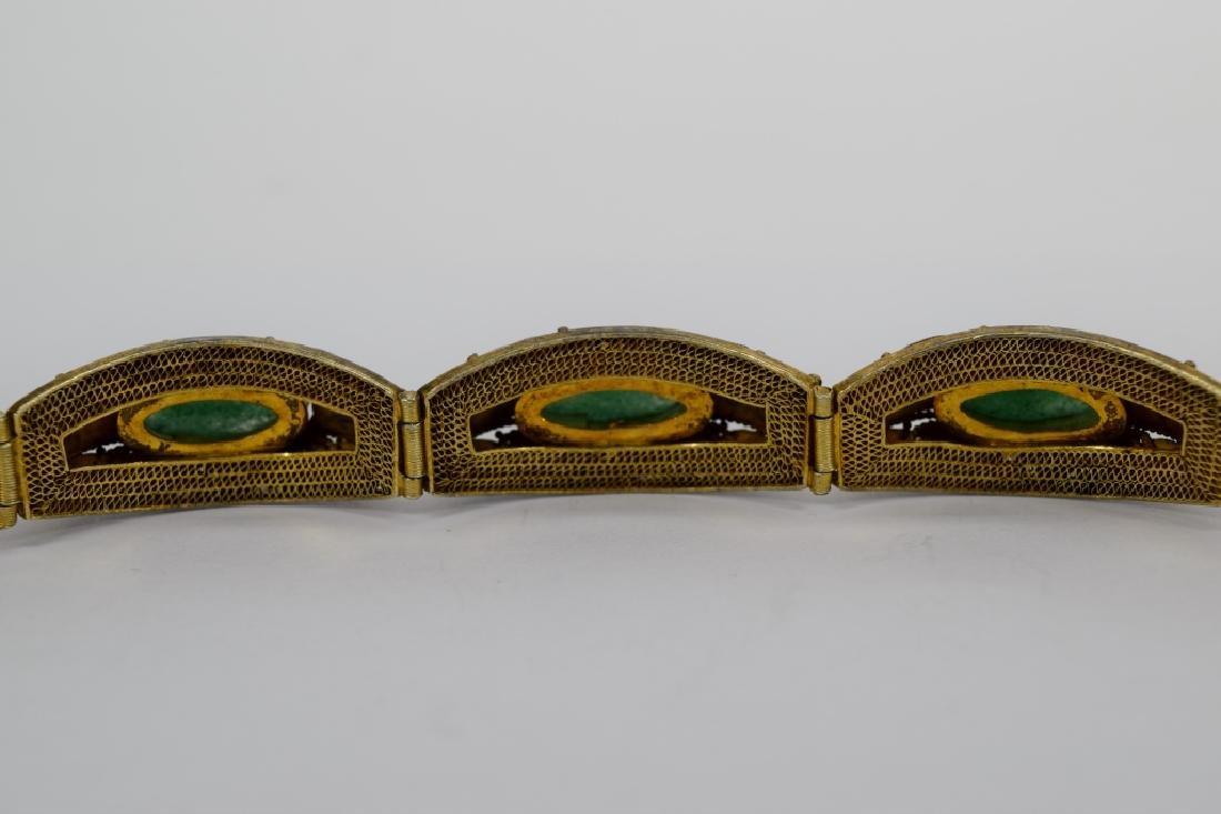 GOLD VERMEIL JADE NUGGETS FILIGREE BRACELET - 10