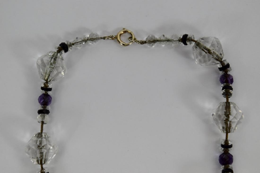 14K GOLD AMETHYST & CUT CRYSTAL BEADED NECKLACE - 10