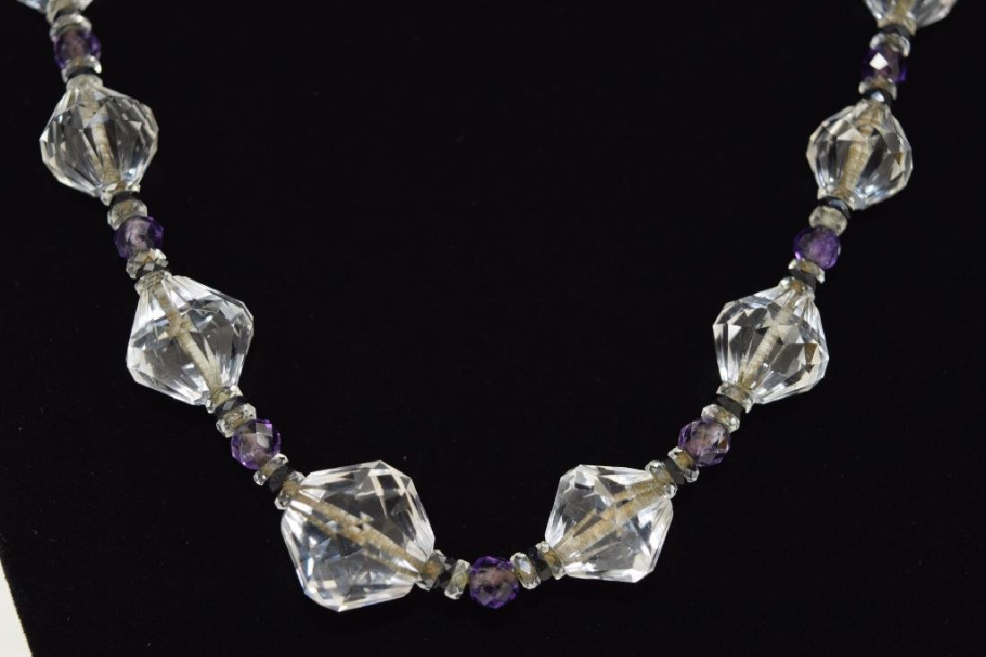 14K GOLD AMETHYST & CUT CRYSTAL BEADED NECKLACE
