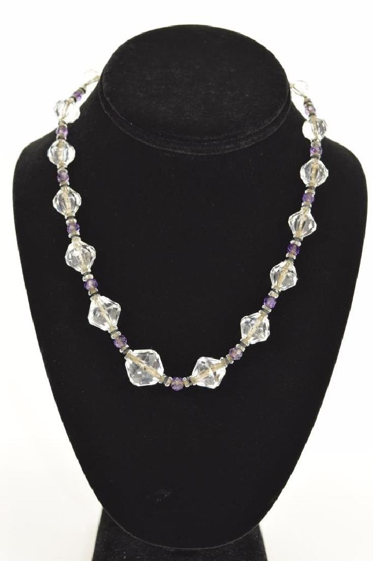 14K GOLD AMETHYST & CUT CRYSTAL BEADED NECKLACE - 2