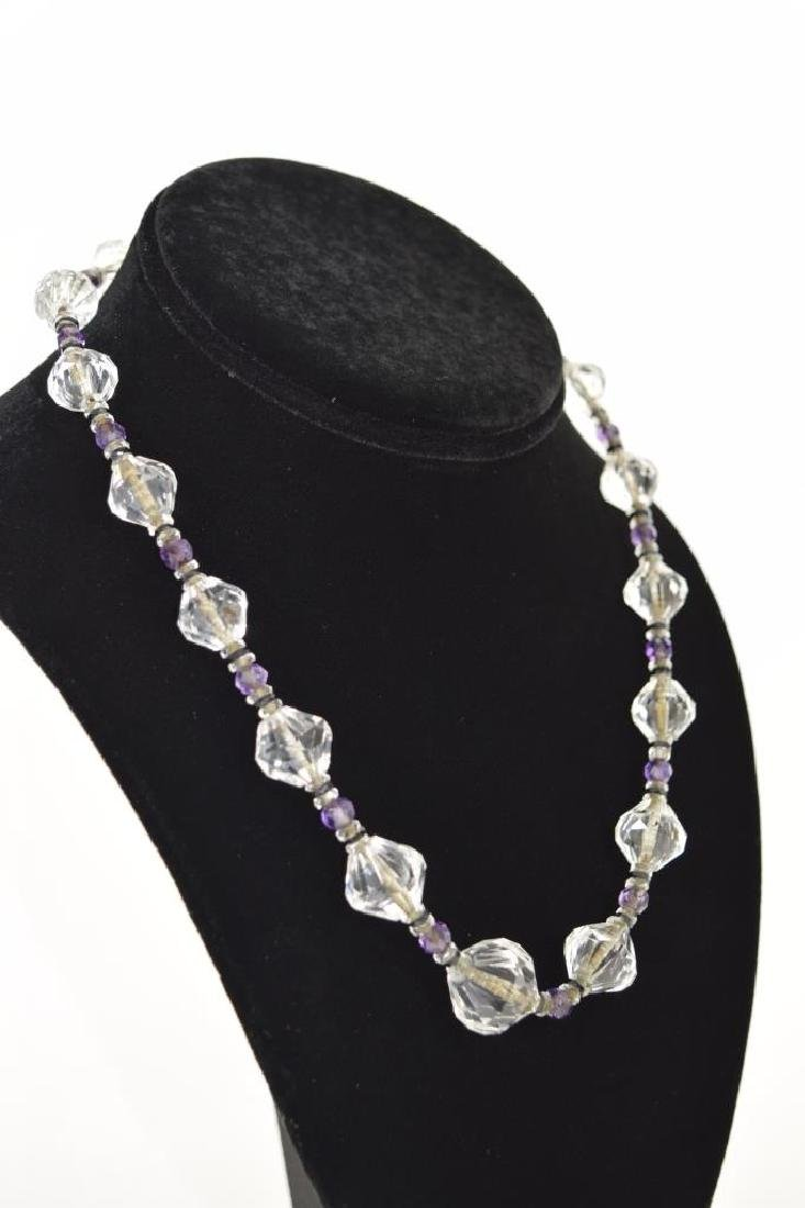14K GOLD AMETHYST & CUT CRYSTAL BEADED NECKLACE - 3