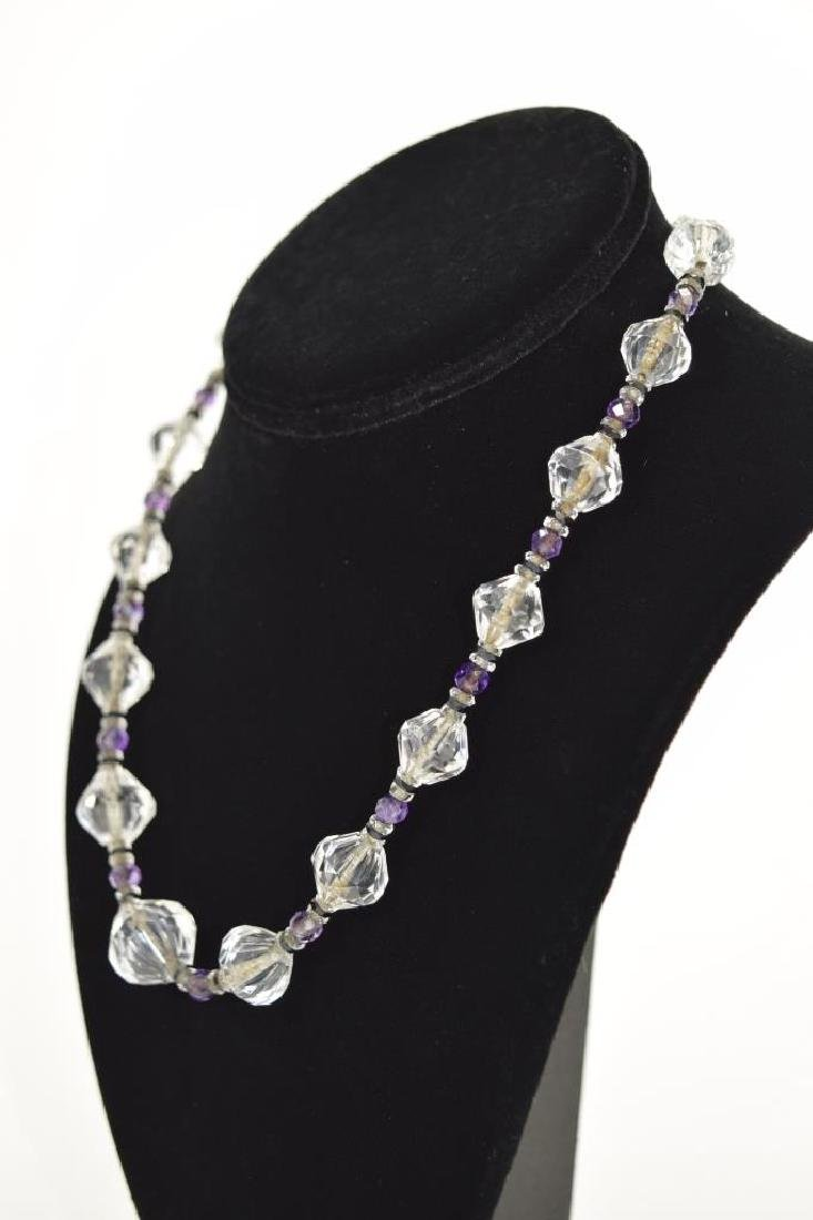 14K GOLD AMETHYST & CUT CRYSTAL BEADED NECKLACE - 4
