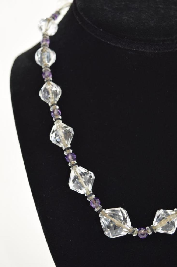 14K GOLD AMETHYST & CUT CRYSTAL BEADED NECKLACE - 5