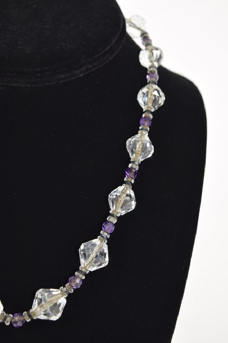 14K GOLD AMETHYST & CUT CRYSTAL BEADED NECKLACE - 6