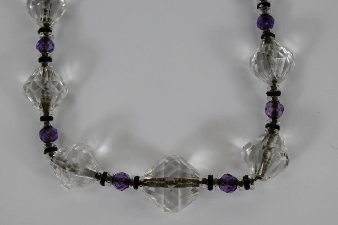 14K GOLD AMETHYST & CUT CRYSTAL BEADED NECKLACE - 8