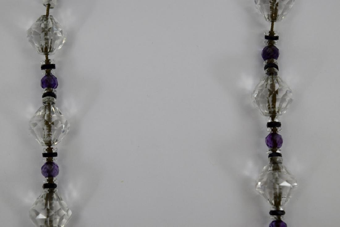 14K GOLD AMETHYST & CUT CRYSTAL BEADED NECKLACE - 9
