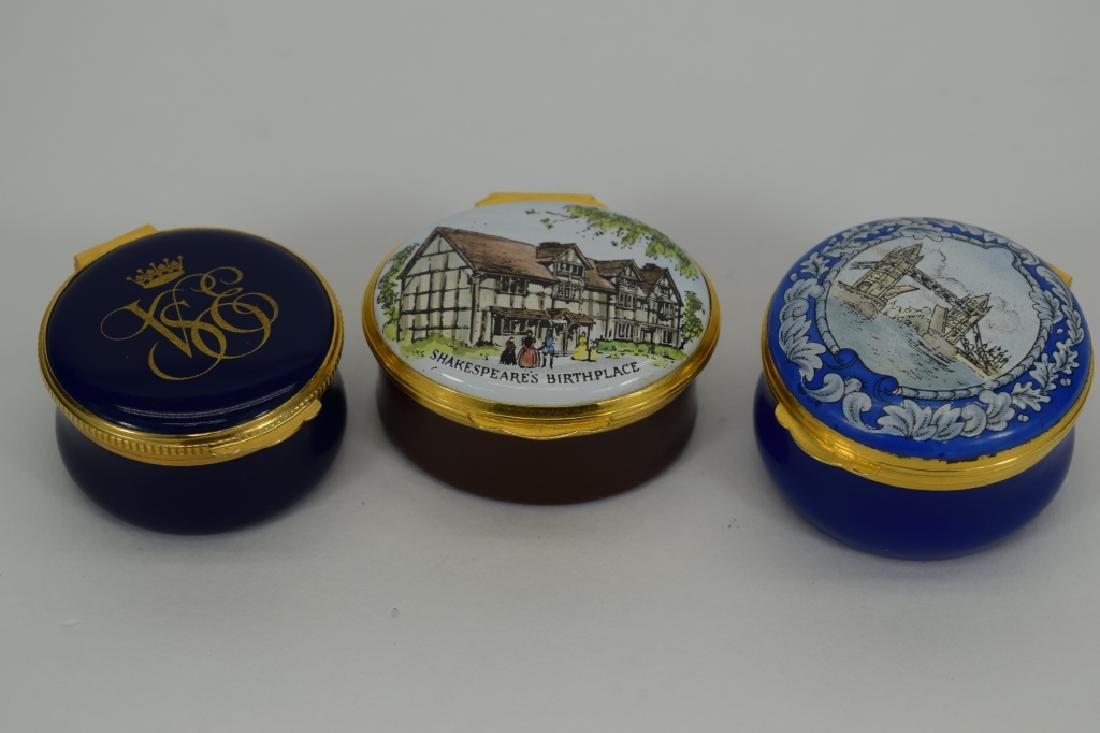 3 CRUMMEL ENGLISH ENAMEL TRINKET PILL BOXES