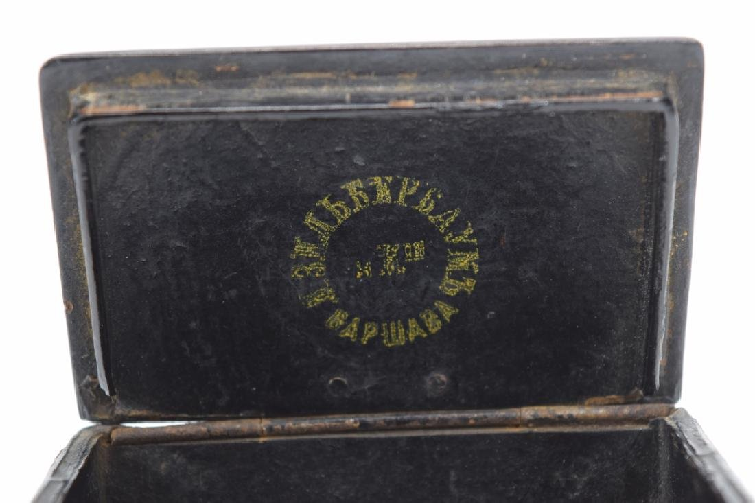 MOSIAC EXOTIC WOOD INLAID MARQUETRY SNUFF BOX - 7