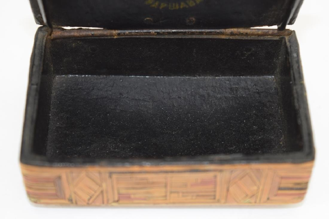 MOSIAC EXOTIC WOOD INLAID MARQUETRY SNUFF BOX - 8