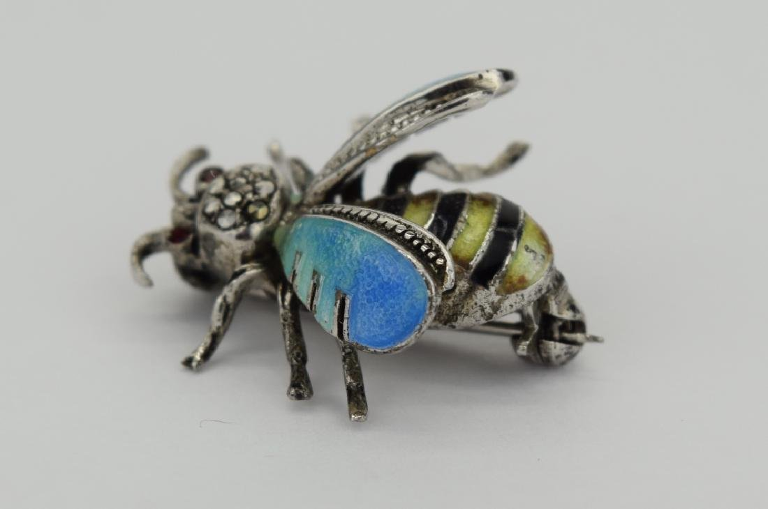 ALICE CAVINESS STERLING SILVER ENAMEL BEE BROOCH - 3