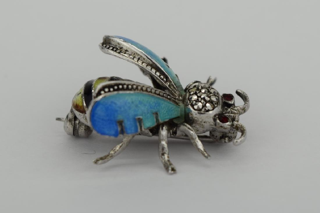 ALICE CAVINESS STERLING SILVER ENAMEL BEE BROOCH - 6