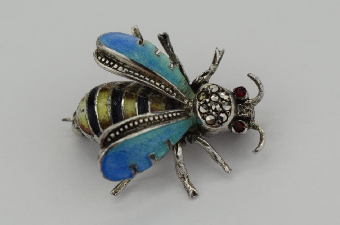 ALICE CAVINESS STERLING SILVER ENAMEL BEE BROOCH - 7