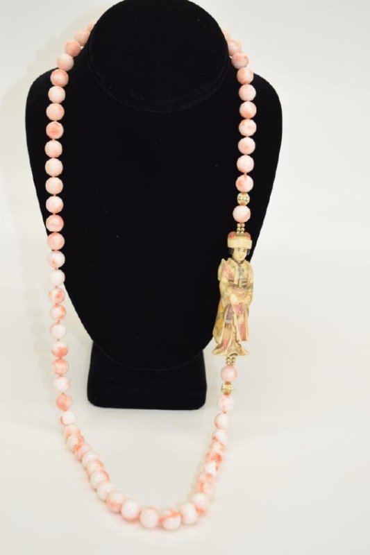 ANTIQUE CHINESE CORAL NECKLACE & EARRINGS SUITE - 6