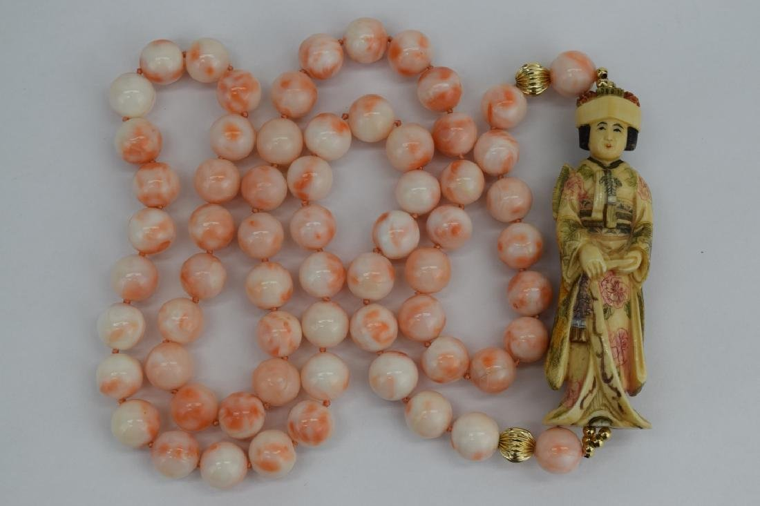 ANTIQUE CHINESE CORAL NECKLACE & EARRINGS SUITE - 7