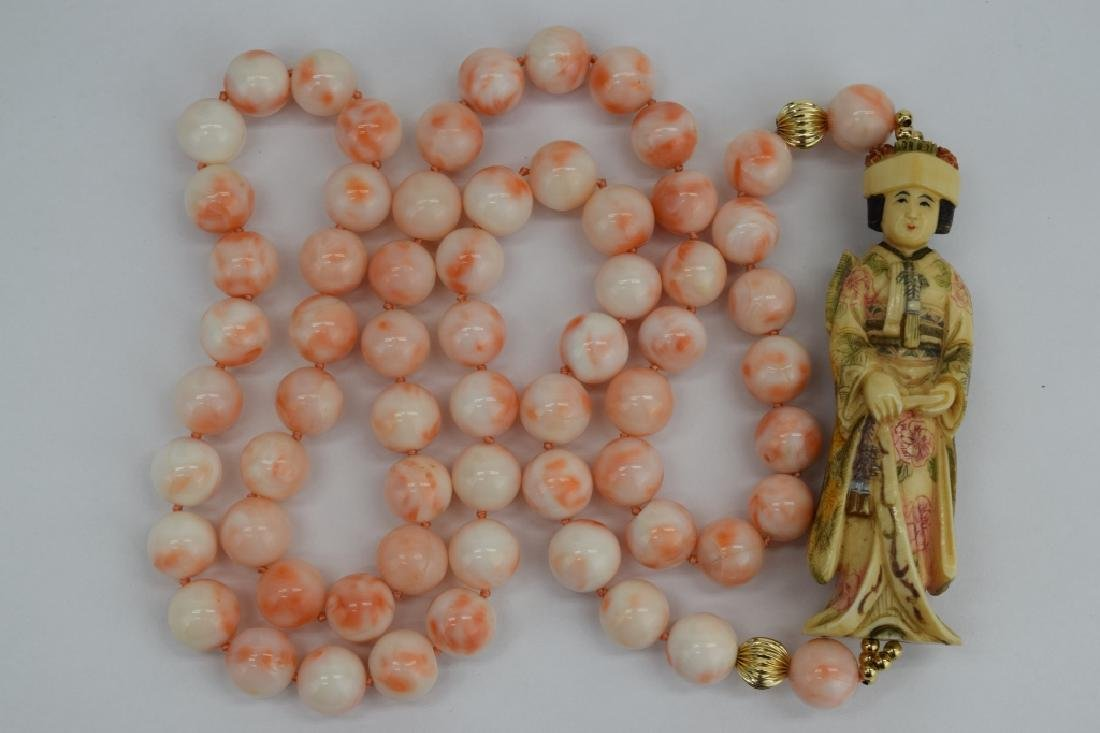 ANTIQUE CHINESE CORAL NECKLACE & EARRINGS SUITE - 8