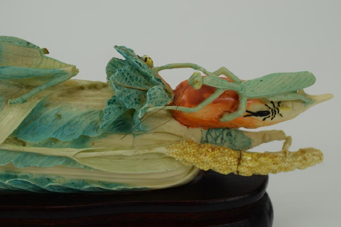 CHINESE CARVING INSECTS ON BOK CHOY CABBAGE - 4