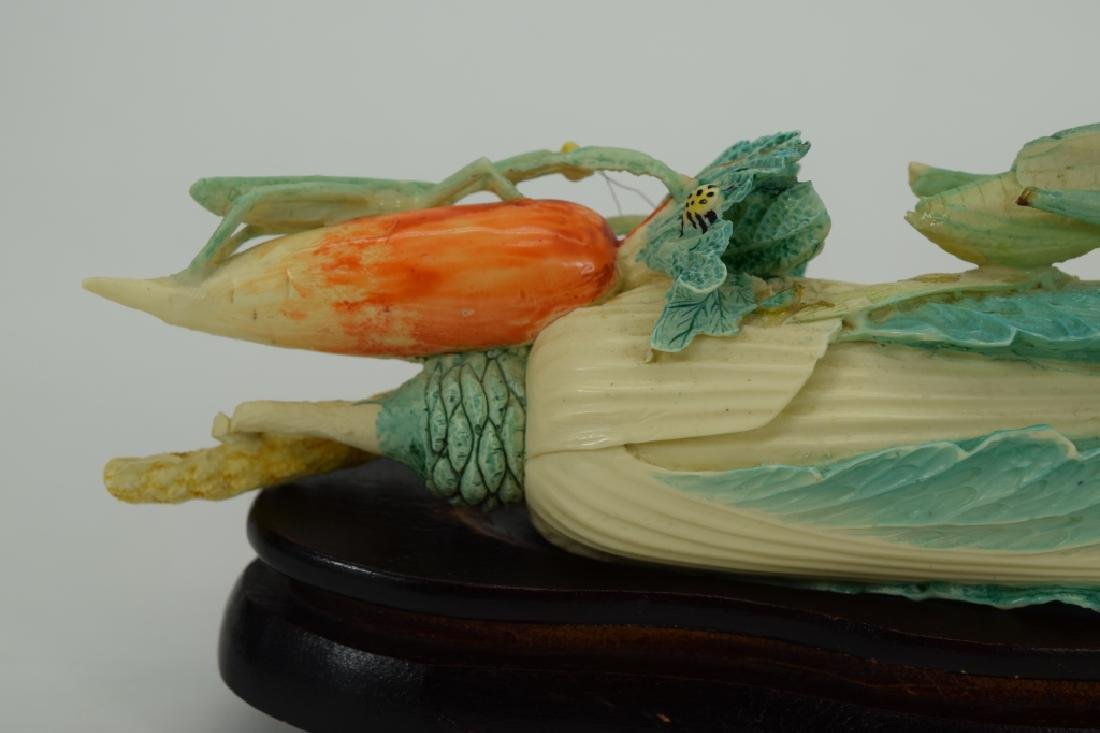 CHINESE CARVING INSECTS ON BOK CHOY CABBAGE - 5