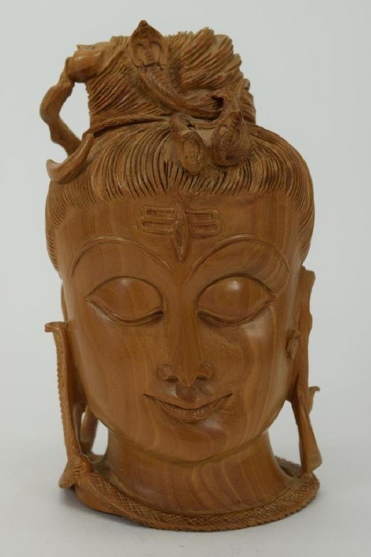 CARVED HINDU SANDALWOOD FIGURAL HEAD OF SHIVA