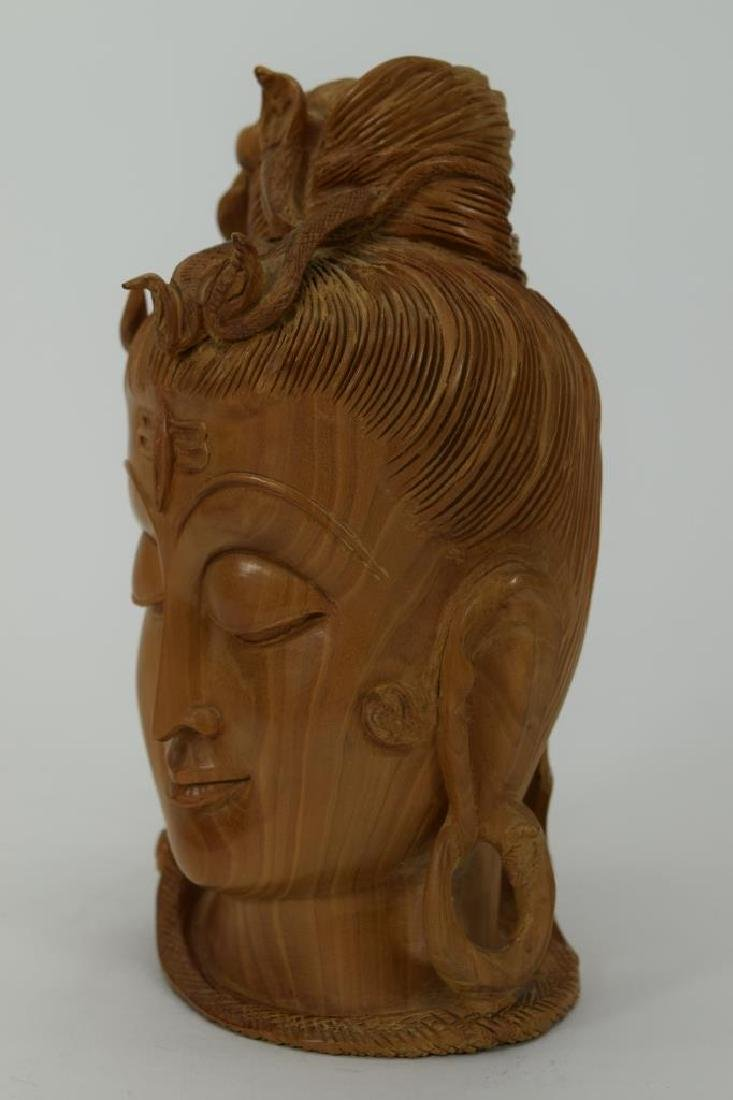 CARVED HINDU SANDALWOOD FIGURAL HEAD OF SHIVA - 2