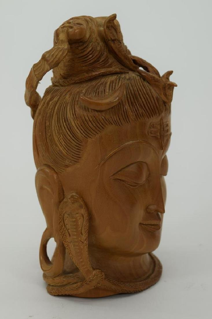 CARVED HINDU SANDALWOOD FIGURAL HEAD OF SHIVA - 5