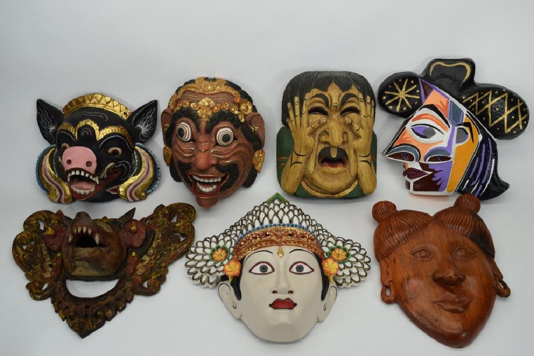 7 CARVED WOOD FACE MASKS INDONESIAN & OTHER - 10