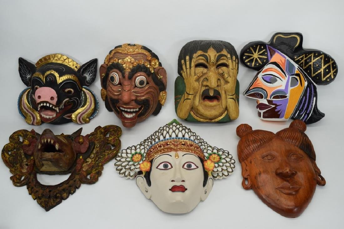 7 CARVED WOOD FACE MASKS INDONESIAN & OTHER