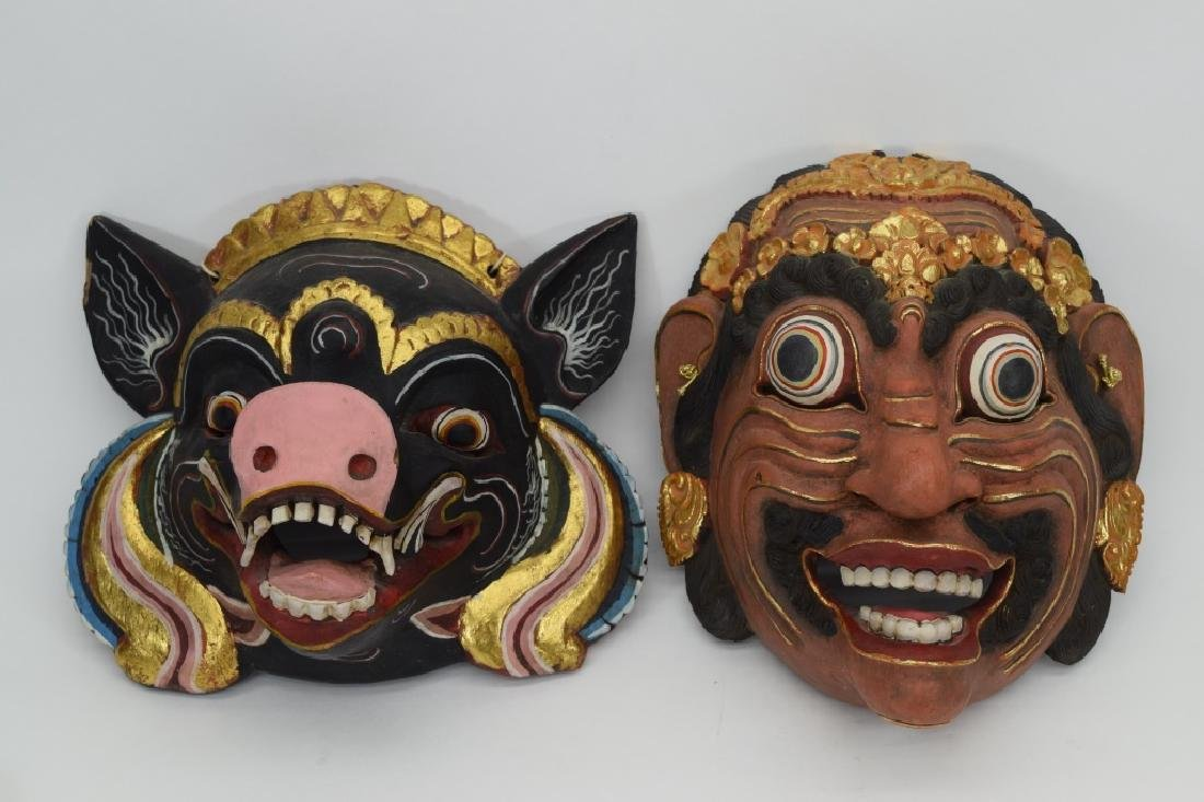 7 CARVED WOOD FACE MASKS INDONESIAN & OTHER - 2