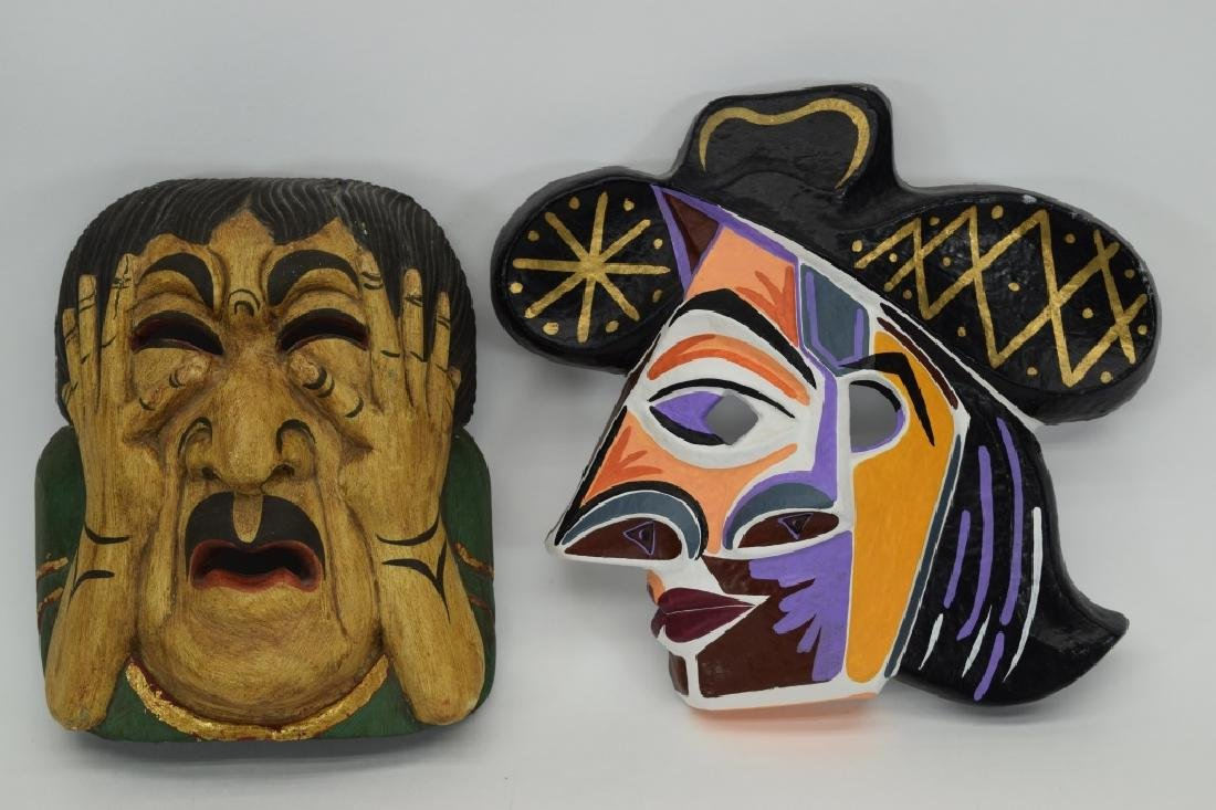 7 CARVED WOOD FACE MASKS INDONESIAN & OTHER - 4