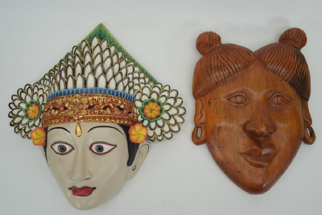 7 CARVED WOOD FACE MASKS INDONESIAN & OTHER - 6