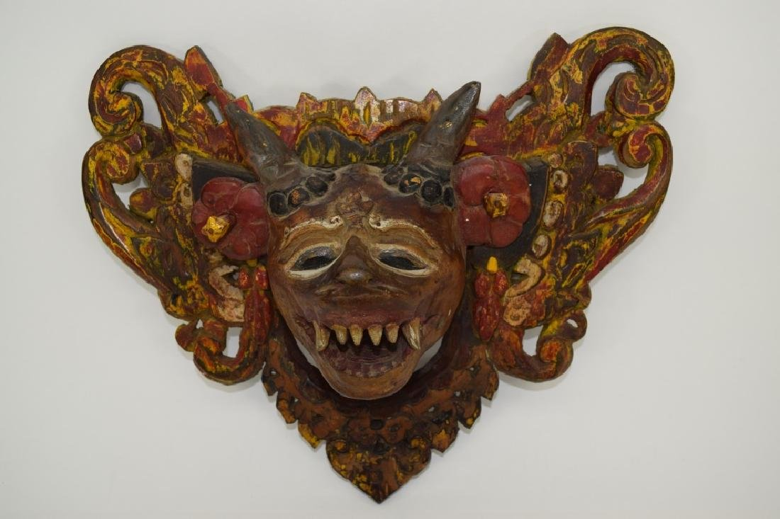 7 CARVED WOOD FACE MASKS INDONESIAN & OTHER - 8