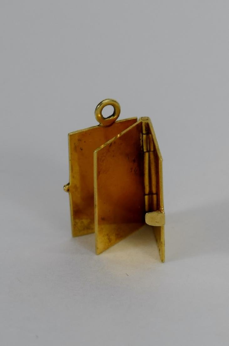 14K GOLD FIGURAL MECHANICAL BOOK CHARM - 3