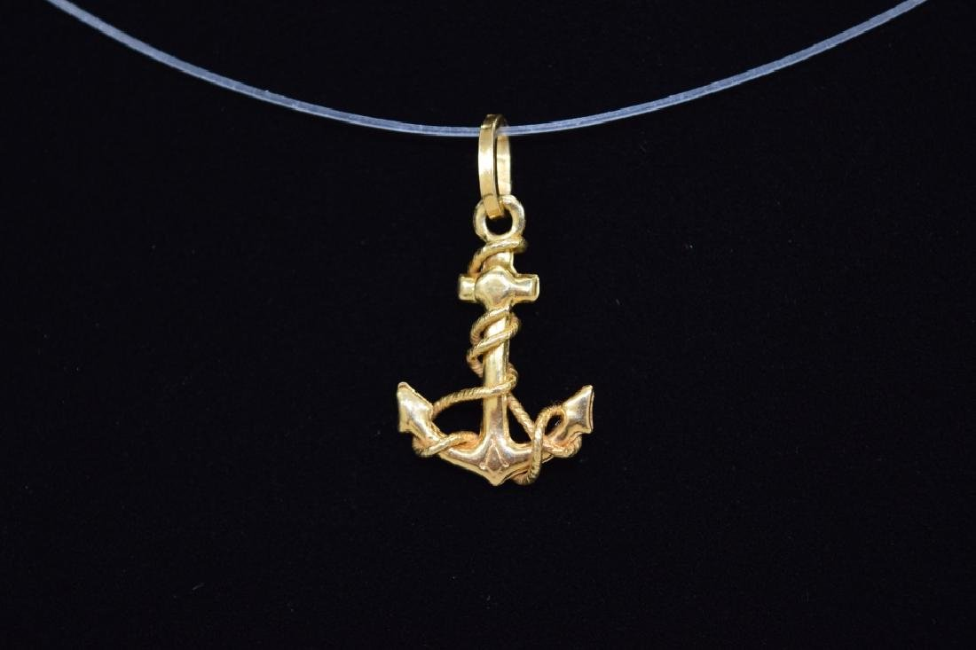 14K GOLD NAUTICAL ROPE WRAPPED ANCHOR PENDANT