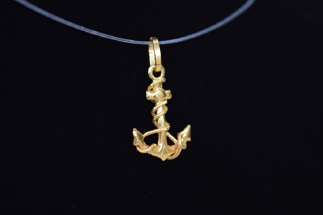 14K GOLD NAUTICAL ROPE WRAPPED ANCHOR PENDANT - 2