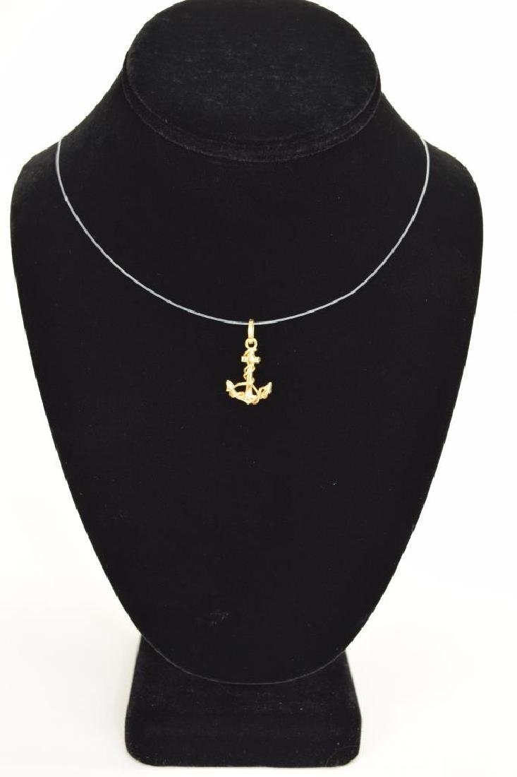 14K GOLD NAUTICAL ROPE WRAPPED ANCHOR PENDANT - 7