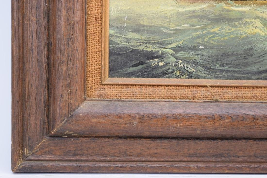 SIGNED OIL ON CANVAS SAILBOAT SHIP PAINTING - 10