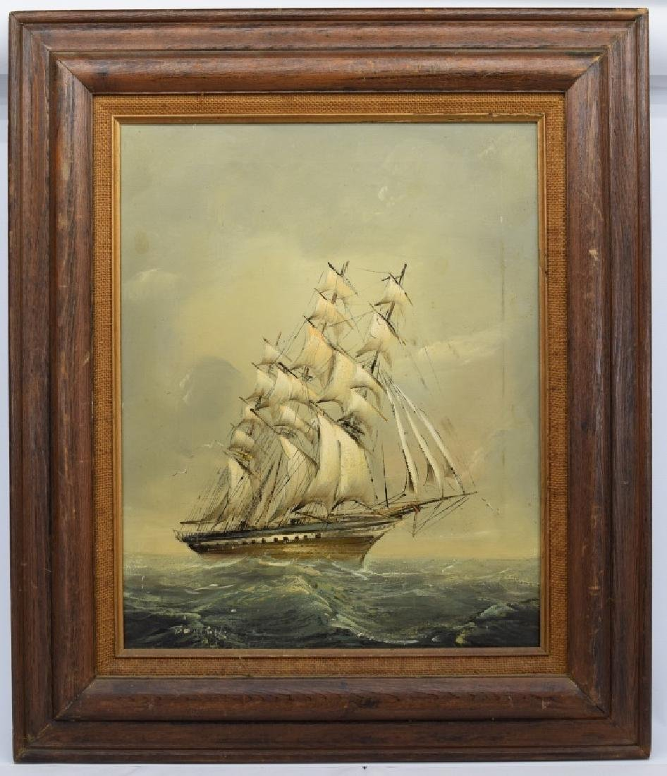 SIGNED OIL ON CANVAS SAILBOAT SHIP PAINTING